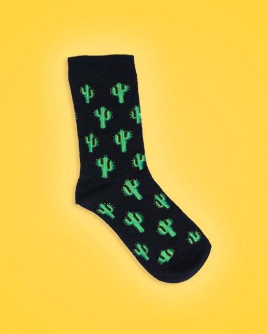 Kaktüs Desenli Siyah Soket Çorap