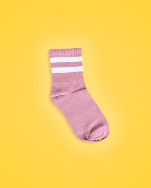 Beyaz Çizgili Gülkurusu Soket Çorap