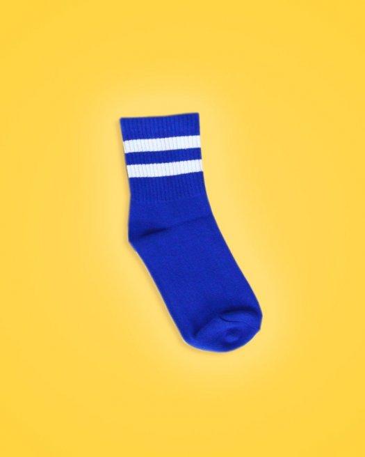 Beyaz Çizgili Koyu Mavi Soket Çorap