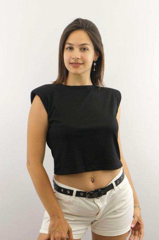 Vatkalı Siyah Crop Bluz