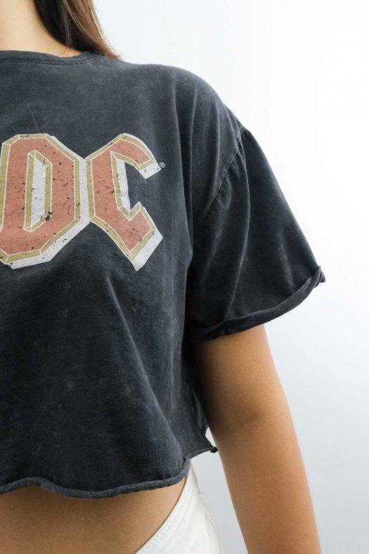 AC/DC Baskılı Gri Crop Tişört