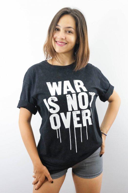 Slogan Baskılı Uzun Siyah Tişört