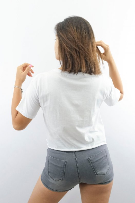 Baskılı Bağlamalı Beyaz Kısa Tişört