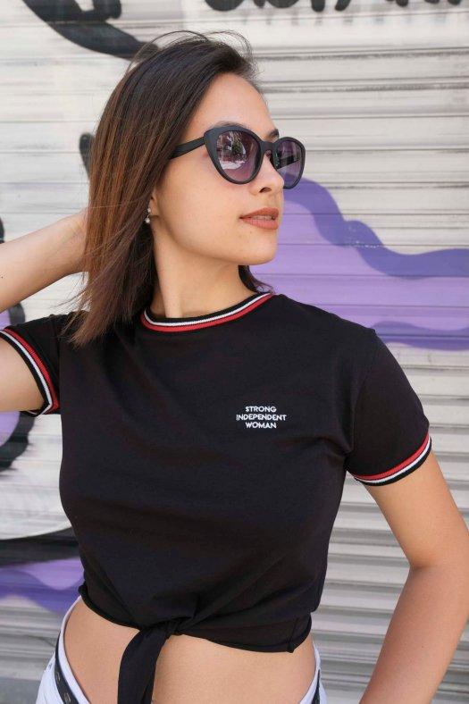 Şeritli Bağlamalı Basic Siyah Crop Tişört