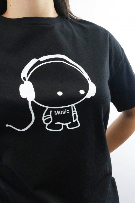 Music Baskılı Siyah Unisex Tişört