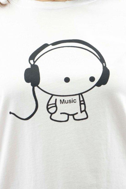 Music Baskılı Beyaz Unisex Tişört