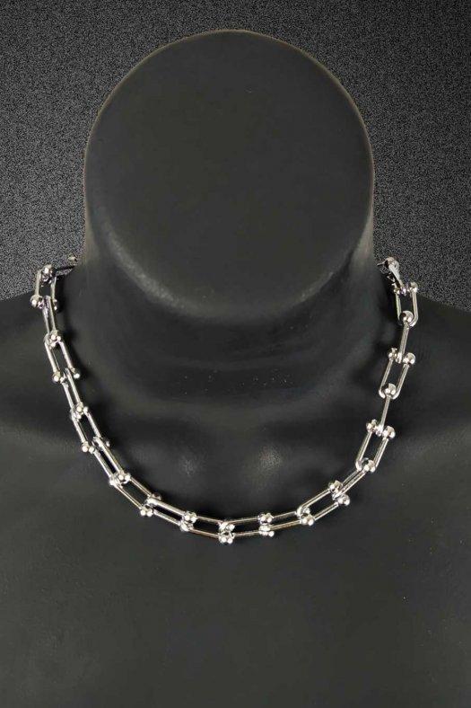 Gümüş Gri Kalın Tiffany Kolye
