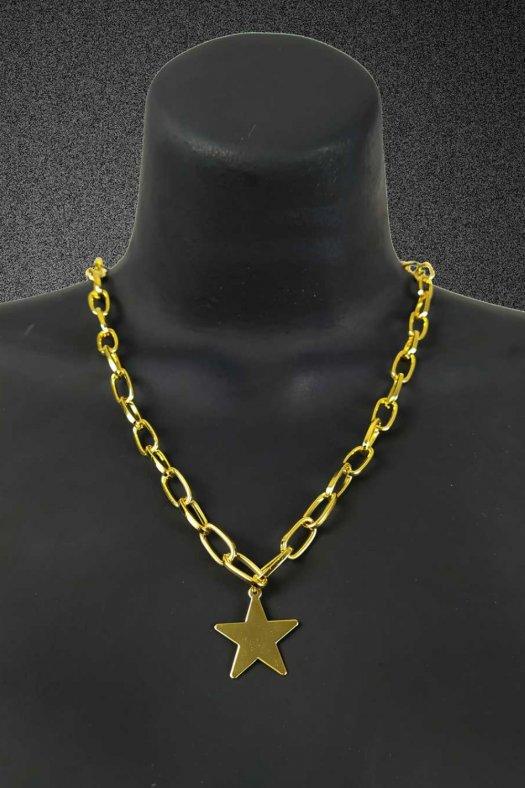 Yıldız Figürlü Altın Sarı Kalın Zincir Kolye